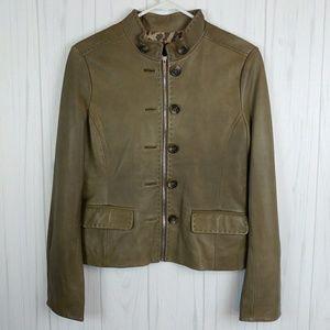 BCBGMaxazria 100% Leather Olive Moto Jacket
